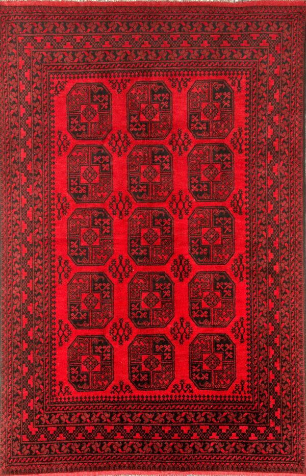 Red afghan rug