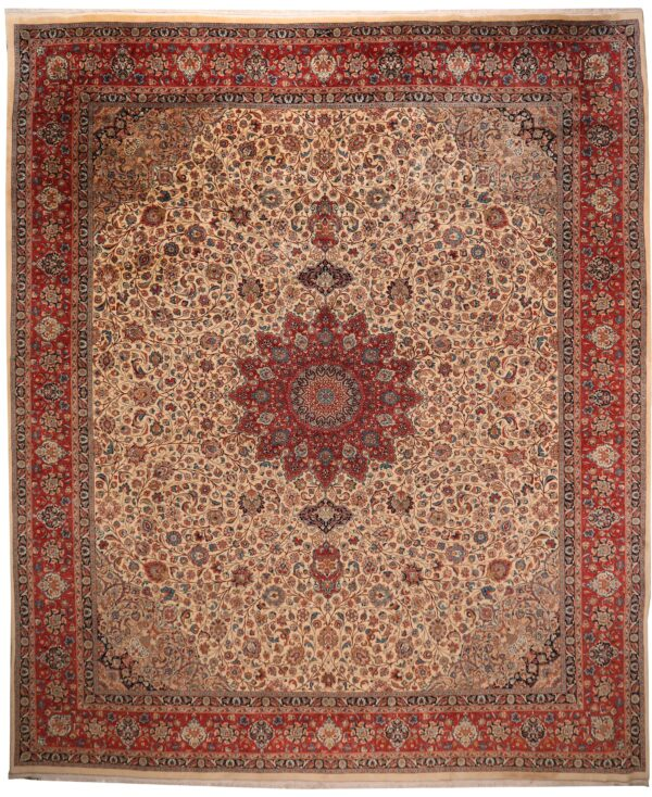 285830 SARUK KASHMAR PERSIAN WITH SILK HIGHLIGHTS SIZE 570 X 490 CM Desciption In Cartouch Reads Mosafer Nejad 4 600x734