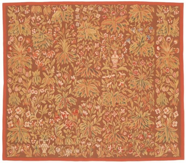 603228 Tapestry Verdure Feuille Rouge Size 177 X 155cm 600x528