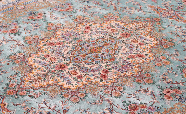 363484 Isfahan Fine Silk Ground And Silk Border Signed Isfahan Nael Abailable As Pair If Needed Size 370 X 259 Cm 3 600x369